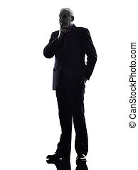 senior business man thinking silhouette