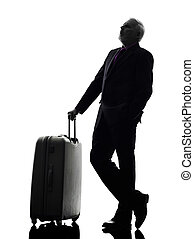 senior business man traveler traveling silhouette