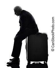 senior business man traveler traveling waiting silhouette
