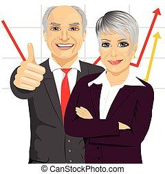 senior business people partners standing together with arms folded and giving thumbs up in front of line chart