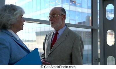 Senior business people talking