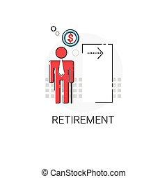 Senior Business Person Retirement Icon Vector Illustration