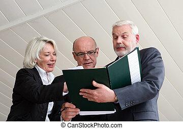 Senior business trio