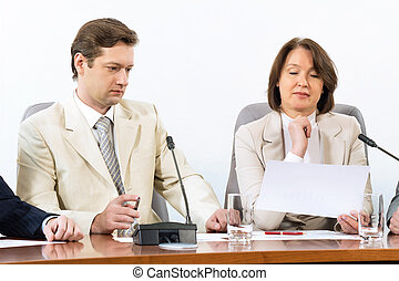 Senior business woman working with documents