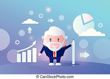 senior businessman analyzing arrow up growth finance chart infographic business man financial data analyzing report male cartoon character full length flat horizontal vector illustration