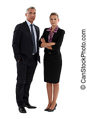 senior businessman and young businesswoman posing