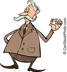 senior businessman cartoon illustration