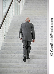 senior businessman climbing the stairs