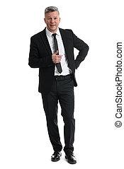 Senior businessman full length isolated