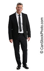 Senior businessman full length isolated