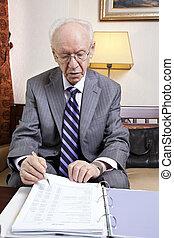 Senior Businessman Going Over Budget