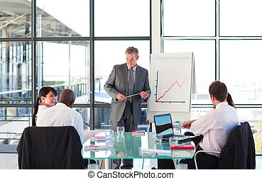 Senior businessman in a presentation