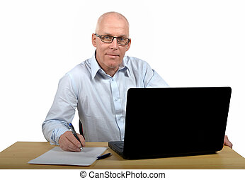 Senior businessman in office