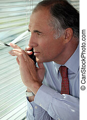 Senior businessman looking through blinds