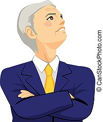 Senior Businessman Looking Up Sky