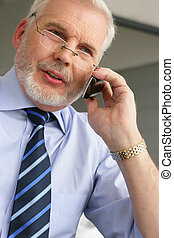 Senior businessman on the phone