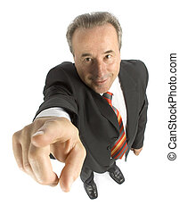 senior businessman pointing