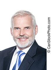 Senior businessman portrait toothy smiling