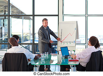 Senior businessman reporting to graphs in a presentation