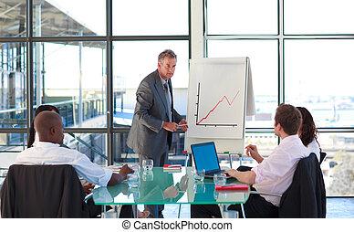 Senior businessman speaking in a presentation