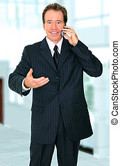 Senior Businessman Talking On The Phone And Making Gesture