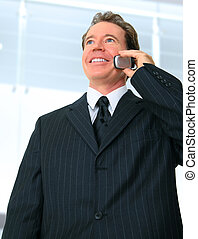 Senior Businessman Talking On The Phone In His Office