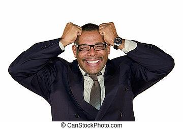 senior businessman tearing his hair