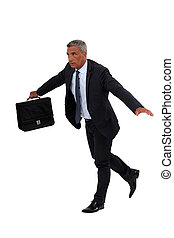 Senior businessman walking on a tight-rope