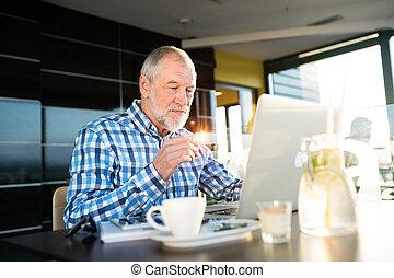 Senior businessman working on laptop in cafe