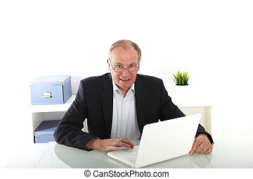 Senior businessman working on laptop
