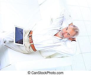 Senior businessman working