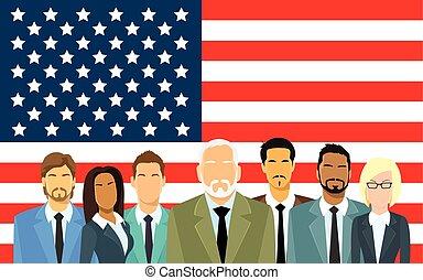 Senior Businessmen Group of Business People Team Over United States American Flag Flat Vector Illustration