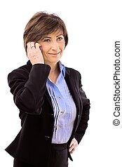 Senior businesswoman calling on phone