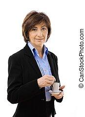 Senior businesswoman drinking coffee