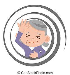 Senior by feel dizzy woman