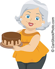 Illustration Featuring an Elderly Woman Holding a Cake