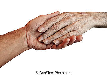 Senior Care with the hand of a young person holding and...