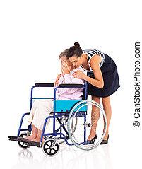 senior, caregiver, tröstande, kvinna