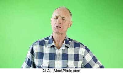 Senior casual caucasian man isolated green screen confident interview