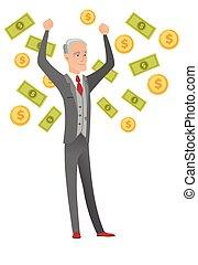 Senior caucasian busiessman under money rain.