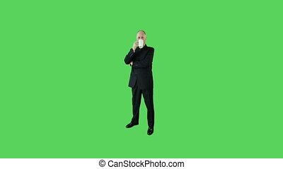 Senior caucasian business man green screen coffee break