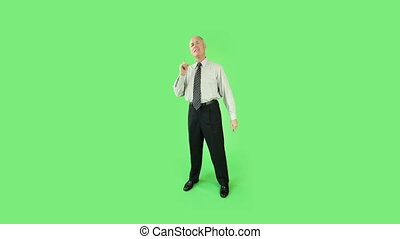 Senior caucasian business man green screen confident interview