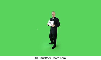 Senior caucasian business man green screen needing help