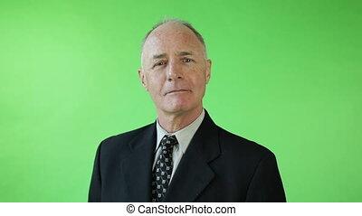 Senior caucasian business man green screen receiving roses