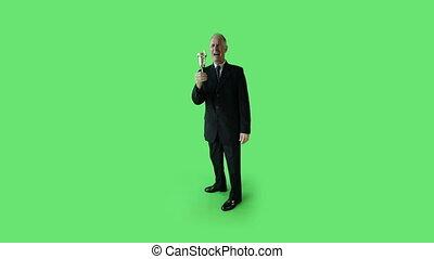 Senior caucasian business man green screen winning success