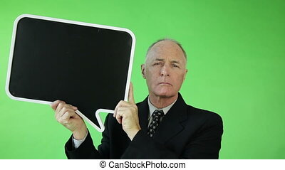 Senior caucasian business man green screen with blank sign