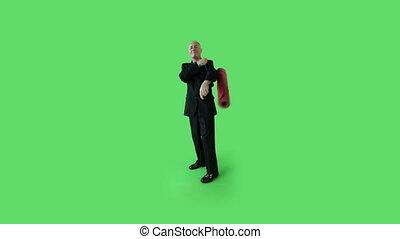 Senior caucasian business man green screen with yoga mat