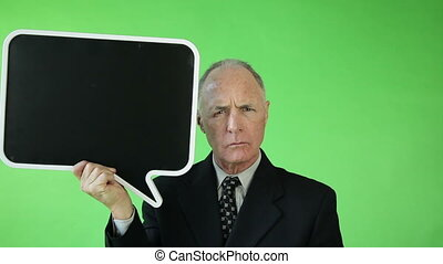 Senior caucasian business man green screen angry with blank sign