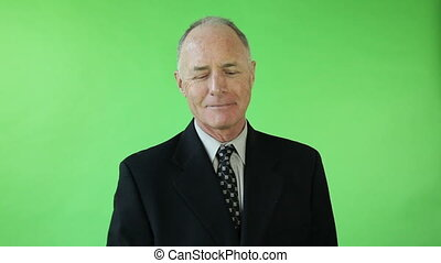 Senior caucasian business man green screen receiving trophy