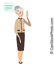 Senior caucasian business woman with speech bubble
